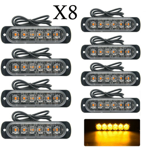 8X 12//24V AMBER RECOVERY CAR STROBE 6LED LIGHTS ORANGE GRILL BREAKDOWN FLASHING