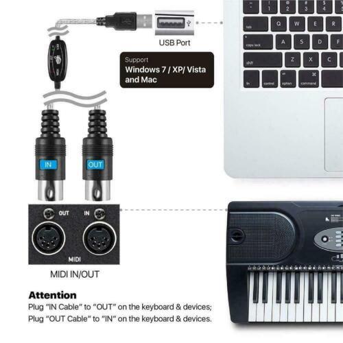1Pcs 1,8M Usb In Out Midi Interface Kabel Konverter Zum Tastatur Adapte Mus Z0T5