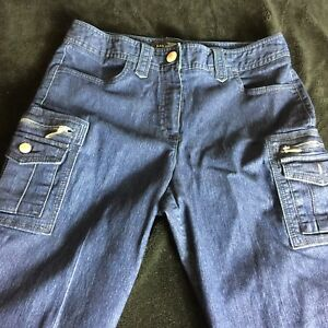 74079ab71bb Larry Levine Jeans Sz 6 Womens Short Petite Stretch Cargo Straight ...