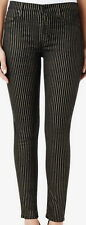 Hudson Barbara High Waist Super Skinny Black With Gold Stripe Jeans Size 25