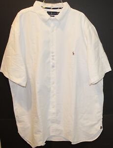 Polo-Ralph-Lauren-Big-Tall-Mens-2XLT-White-Button-Front-S-S-Shirt-NWT-Size-2XLT