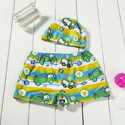 2Pcs Toddler Kid Baby Boys Stretch Beach Swimsuit Swimwear Trunks Shorts+Hat Set