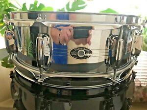 Slingerland-14-034-x-5-034-COB-Chrome-Over-Brass-Snare-Drum-Late-1970-039-s-Vintage