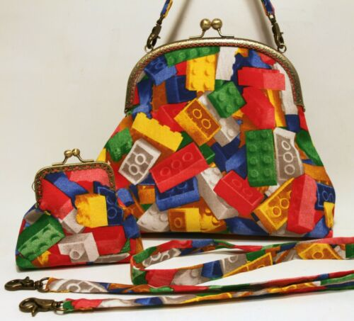 Brick Bag Purse Handbag Print Lego amp; Fun Fabric Toy Funky Set Handmade qxRC6PH5