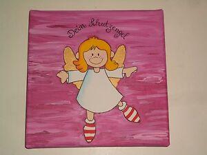 Details zu Farbkleckstiger*-Bilder Keilrahmen Bild Kinderzimmer Acryl  Schutzengel 2