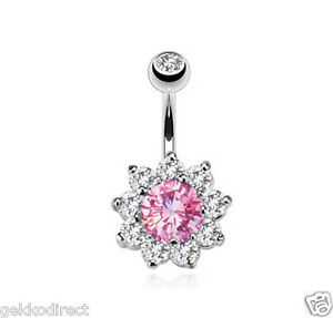 Surgical-Steel-Belly-Bar-with-Multi-Cubic-Zirconia-Flower-Prong-Set-Navel-Ring