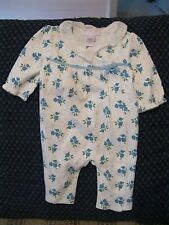 JANIE AND JACK one-piece outfit - 0-3M, blue FLOWERS, LAYETTE, super soft!