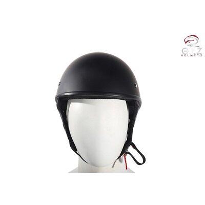 DOT Flat Black Motorcycle Half Helmet Beanie Helmet