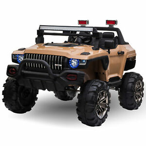 Aosom 12V RC 2-Seater Kids Ride-On Police Truck, LED Lights, MP3, Christmas Gift