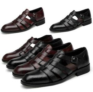 Mens-Hollow-Low-Heel-Sandals-Leather-Business-Formal-Dress-Buckle-Casual-Shoes