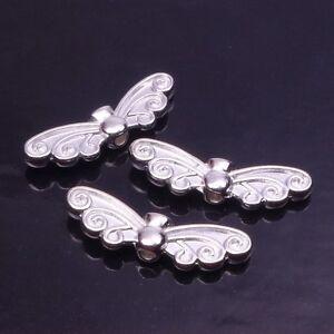 10 20 Metall Flugel Perlen Engel Elfe Basteln Farbe Silber