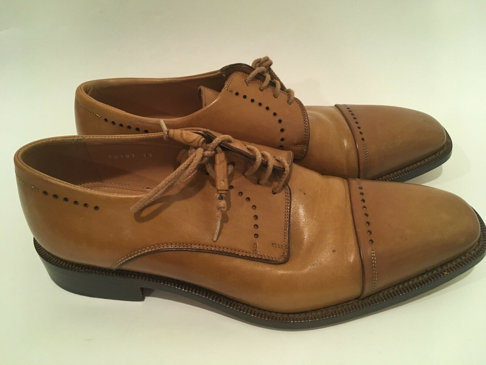 FRATELLI BORGIOLI Mustard Italian Leather Oxfords Dress shoes Hand Made