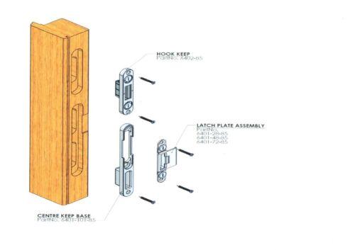 ERA Timber centre keep latch plate /& Hook Keep Receiver Set various sizes