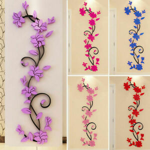 3D-Flower-Decal-Vinyl-Decor-Art-Home-Living-Room-Wall-Sticker-Removable-Mural