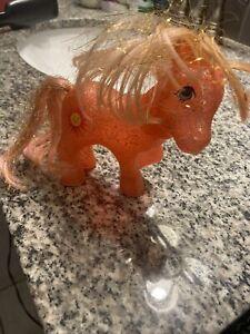 Vintage My Little Pony G1 SUNSPOT Sparkle ponies 1984 Orange PINK HAIR Glitter