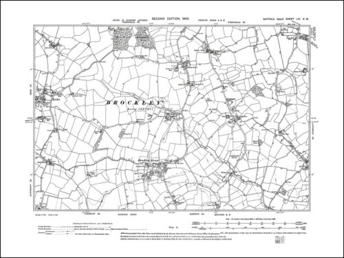 Rede Brockley Green 54SW repro old map Suffolk 1905