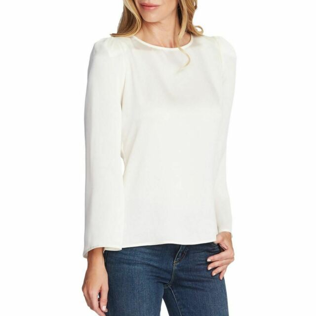VINCE CAMUTO NEW Women's Hammered Satin Shoulder Pad Blouse Shirt Top TEDO