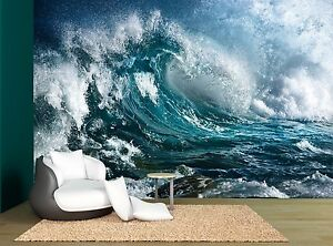 Ocean Night Storm Wave Sea Water Wall Mural Photo Wallpaper Giant