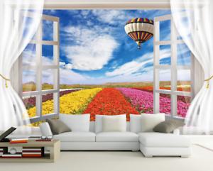 Papel Pintado Mural De Vellón Ventana Flores coloridas 2 Paisaje Fondo Pansize