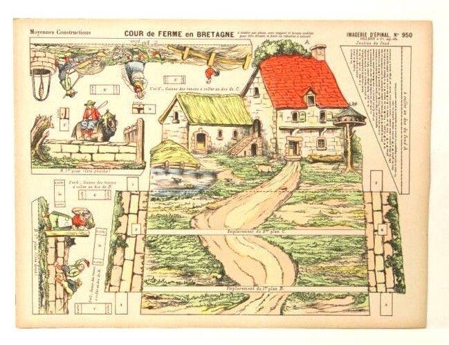 Imagerie D'Epinal No950 Cour de Ferme Bretagne,Moyennes Construction paper model