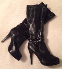 Genuine Twisted Vanessa-01 Women's Stiletto Platform High Heel Boots Size 7
