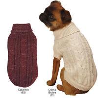 Lurex Cable Knit Dog Turtleneck Sweater Pet Apparel Cabernet Creme
