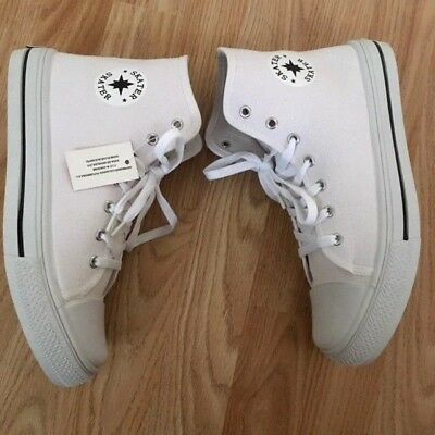 BUY1GET1FREE Baseball Boots Trainers Canvas Navy Wedge Heel Buckle Shoe Size 5-7