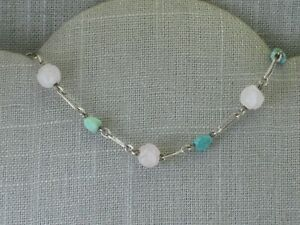 Vintage Sterling Silver Turquoise and Carved Rose Quartz Necklace Chinese Estate
