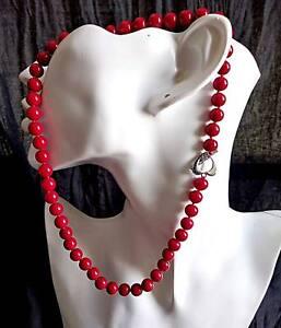 Collar-Perlas-8mm-En-Rojo-Coral-En-Vivo-desde-Carcasa-Mar-rojo-Alta-Calidad