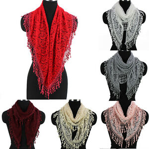 Women-039-s-Crochet-Paisley-Floral-Lace-Tassel-Solid-Color-Ladies-Triangle-Scarf-New
