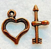 10sets Tibetan Antique Copper Heart Toggle Clasp Connector Jewelry Finding C251