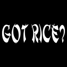 Got Rice? Funny Automotive Rear Car Truck Window Laptop Vinyl Decal Sticker.
