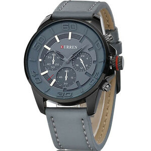 2017 New Arrival Top Brand CURREN Mens Watches High Quality Genuine Leather