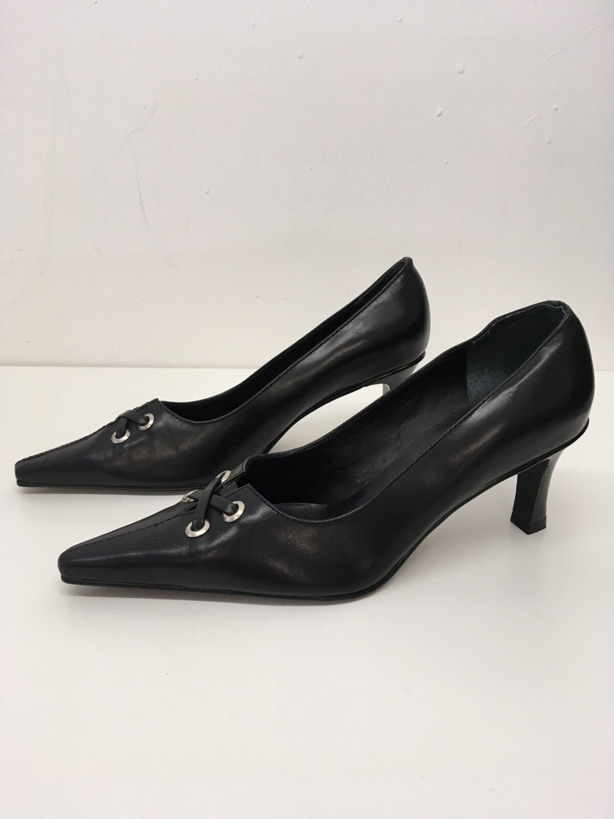Women's Jane Shilton Black Leather Slip On High Heel Pointed Toe Shoes Size UK 6