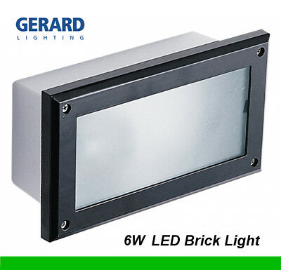 2 x 11W LED Brick Lights Black Recessed Wall Light Plain Face 225 x 125mm IP66