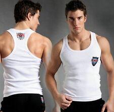 Men's A-Shirts Tank Vest Cotton Singlet Summer Training Tops White #271 XL