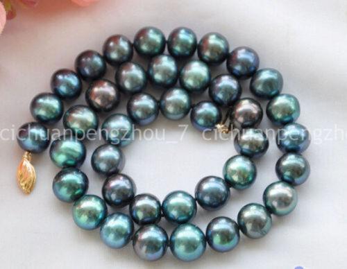 """Real 9-10 mm Peacock Noir Rond d/'eau douce collier de perles 18/"""""""