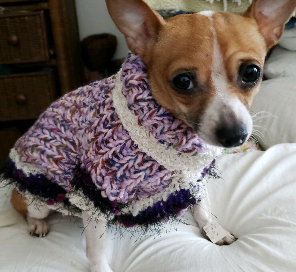 LUXURY DOG HAND-KNITTED COAT   lila LAVENDER THICK- SMALL