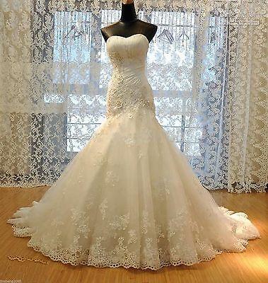 White Ivory Mermaid Gown Bridal Wedding Dress Custom Size 4 6 8 10 12 14 16 16W