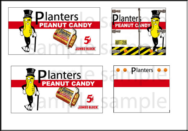HO SCALE 1:87 PEEL STICK CLASSIC METAL WORKS PLANTERS PEANUT DECAL SET  A