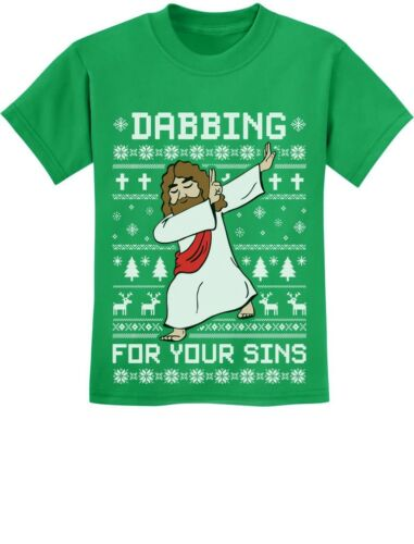 Dabbing For Your Sins Funny Jesus Dab Ugly Christmas Youth Kids T-Shirt Xmas