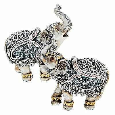 DECORATIVE CEREMONIAL JUMBO  ELEPHANT WITH CALF BABY ORNAMENT SILVER  COLOURED
