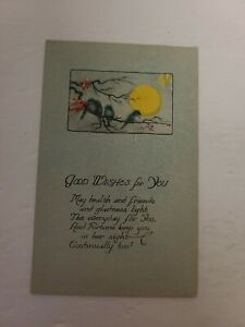 """Vintage Postcard - Greeting Card -""""GOOD WISHES FOR YOU"""" - Early 1900s - J75"""