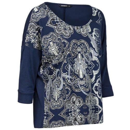 Desigual Damen Strick Shirt Pullover Feinstrick kastenförmig florale Mandala