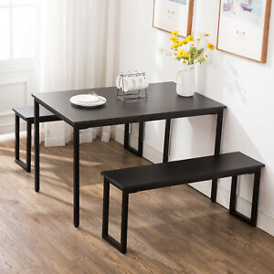 Details About 3pc Black Dining Set Breakfast Nook Table And 2 Benches Rectangular Kitchen Room
