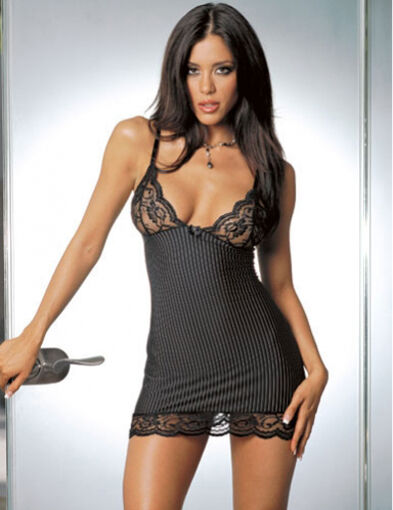 Black Lingerie Babydoll Dress Chemise Nighty Underwear Sleepwear + G-String #150
