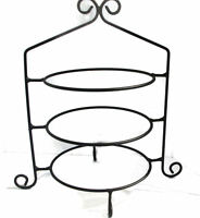 Hand Wrought Black Rod Iron Pie Plate Holder Rack 3 Tier Stand Usa Made Cupcakes