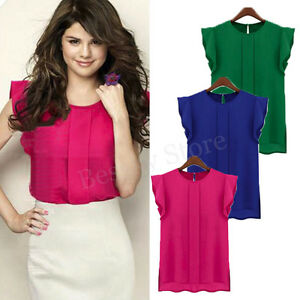 Fashion-Women-Blouse-Casual-Chiffon-Shirt-Short-Tulip-Sleeve-Loose-Shirt-Tops