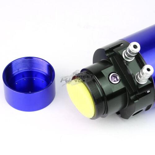 "7/"" X 2.5/"" UNIVERSAL BILLET ALUMINUM VACUUM GAUGE OIL CATCH BREATHER TANK BLUE"