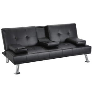 Modern-PU-Leather-Sofa-Bed-Futon-Durable-Black-With-Cup-Holders-amp-Pillows